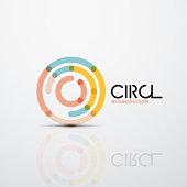 Abstract swirl lines symbol, circle design icon