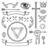 Abstract tattoo style line art heraldic elements. Vector illustration.