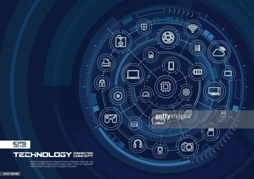 Abstract technology background. Digital connect system with integrated circles, glowing thin line icons.