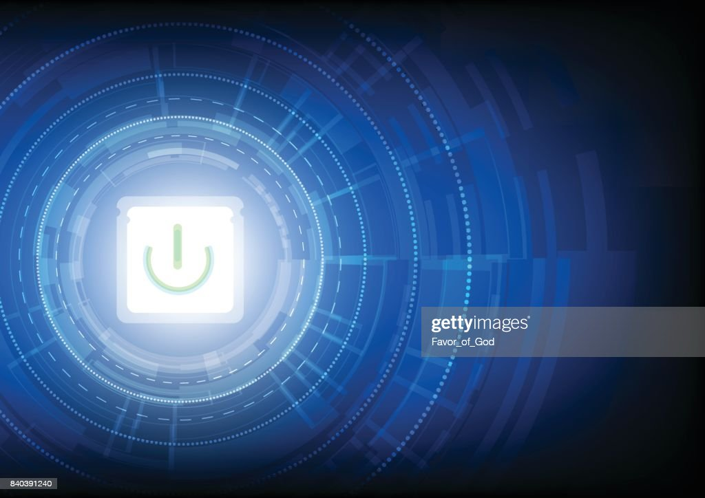 Abstract technology background illuminate on black with power button