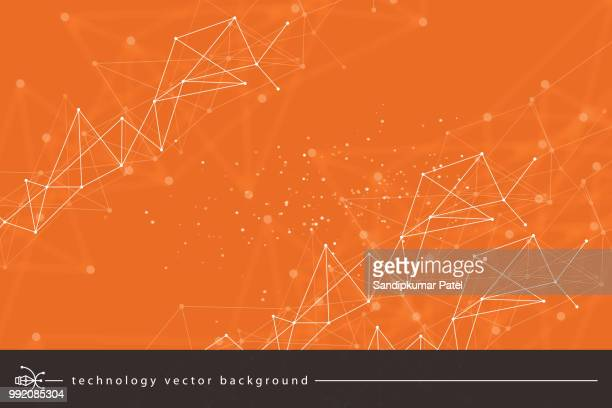abstract technology background - orange colour stock illustrations