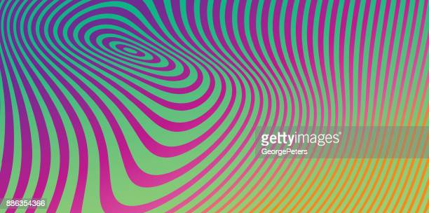 abstract technology background with concentric halftone pattern - optical illusion stock illustrations