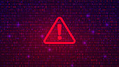 Abstract Technology Binary Code Dark Red Background. Cyber Alert