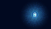 Abstract technology cyber security privacy information network concept padlock protection digital network internet link on hi tech blue future background