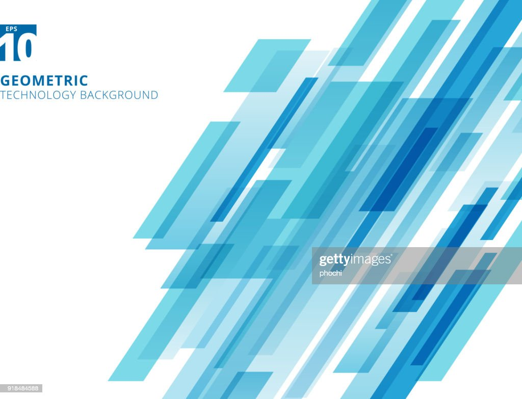 Abstract technology diagonally overlapped geometric squares shape blue colour on white background.