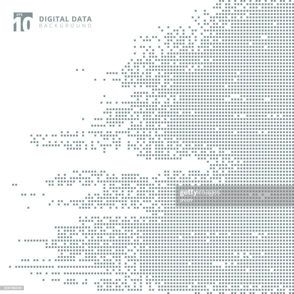 Abstract technology digital data square gray pattern pixel background.