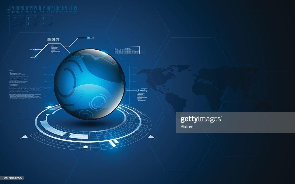 abstract technology globe innovation sci fi pattern concept background design