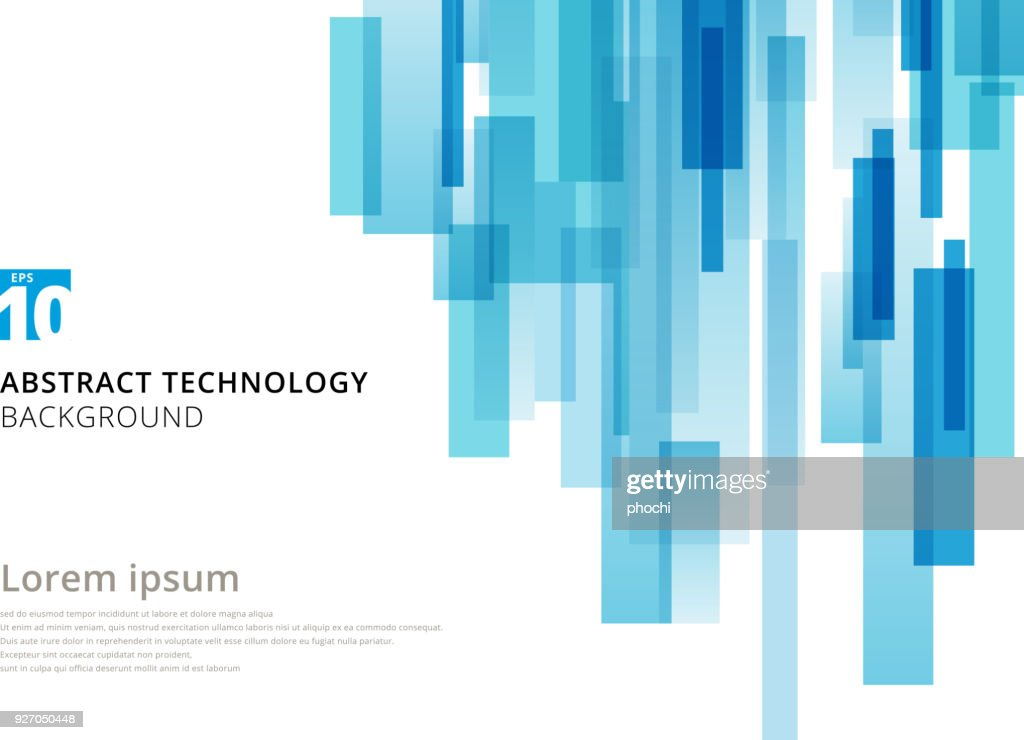 Abstract technology vertical overlapped geometric squares shape blue colour on white background with copy space.