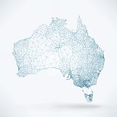 Abstract Telecommunication Network Map - Australia