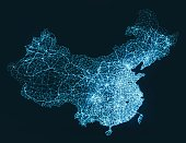 Abstract telecommunication network map - China