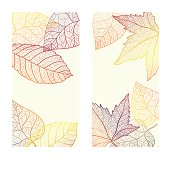 Abstract template card with autumn leaves.