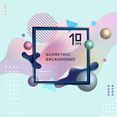 Abstract template colorful fluid shapes and geometric poster cover design background.
