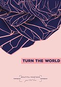 """abstract template with hand drawn inverted mountains. beautiful card decorated with the inscription """"turn the world"""""""