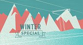 abstract textured flat winter background with vintage badge