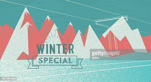 abstract textured flat winter background with vintage badge - silk screen stock illustrations, clip art, cartoons, & icons