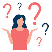 Abstract thoughtful and doubting woman with question mark. Girl solves problem, chooses solution. The concept of doubt, ignorance, confusion, deadlock. I do not know. Vector flat design illustration.