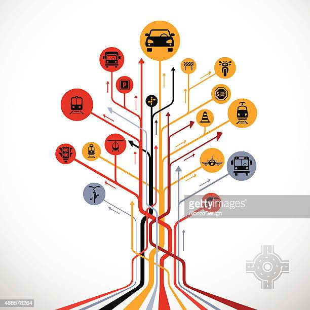 abstract traffic tree - train vehicle stock illustrations