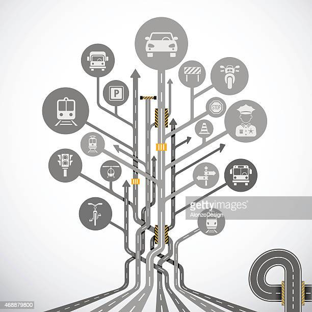 abstract traffic tree - thoroughfare stock illustrations, clip art, cartoons, & icons