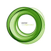 Abstract transparent green swirl circle