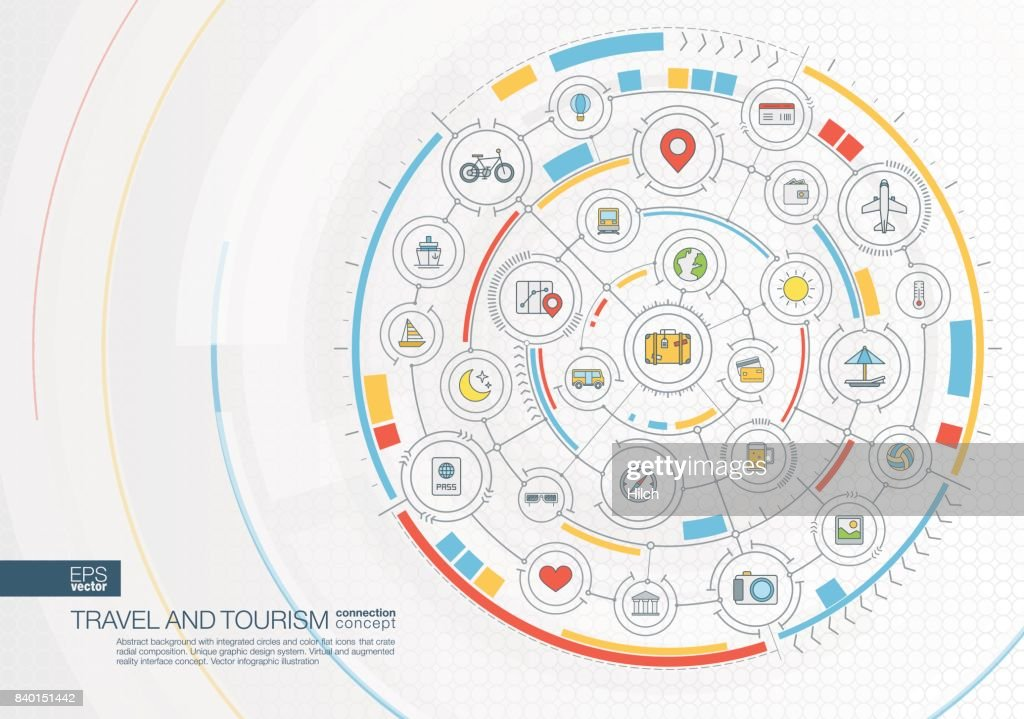 Abstract travel and tourism background. Digital connect system with integrated circles, color flat icons.