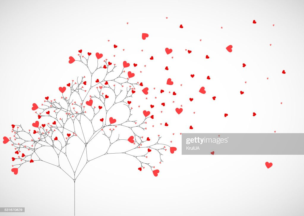 Abstract tree made with hearts.