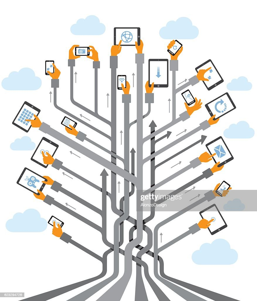 Abstract Tree with Hands using devices