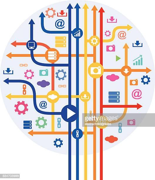 抽象的なアイコンツリーにテクノロジー - insight tv点のイラスト素材/クリップアート素材/マンガ素材/アイコン素材