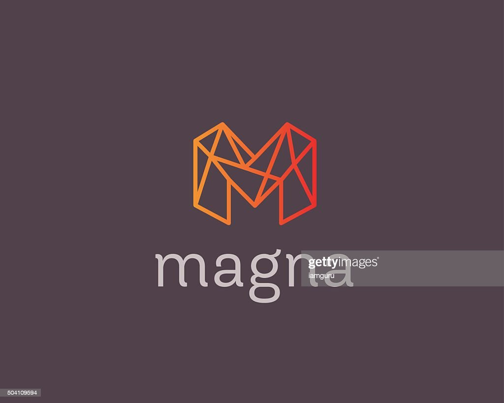 abstract trend letter m logo design template colorful structure creative vector art
