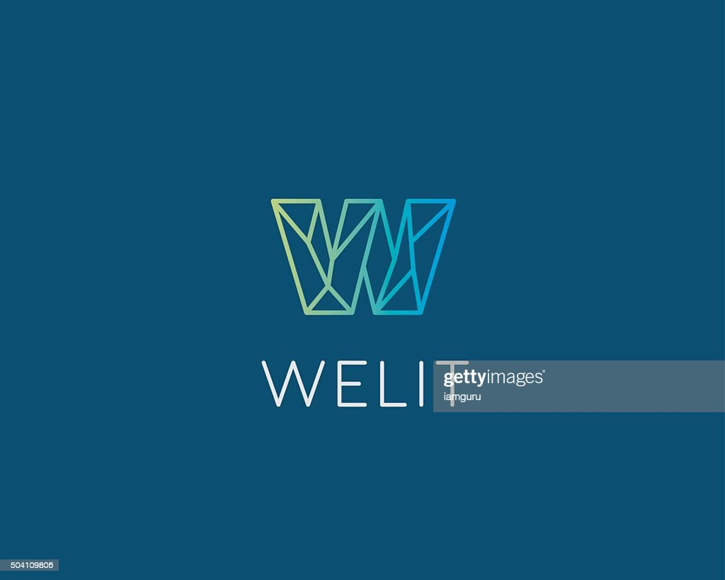 abstract trend letter w logo design template colorful structure creative vector art