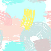 Abstract trendy seamless pattern. Watercolor, sketch, paint, brush strokes. Drawn by hand.