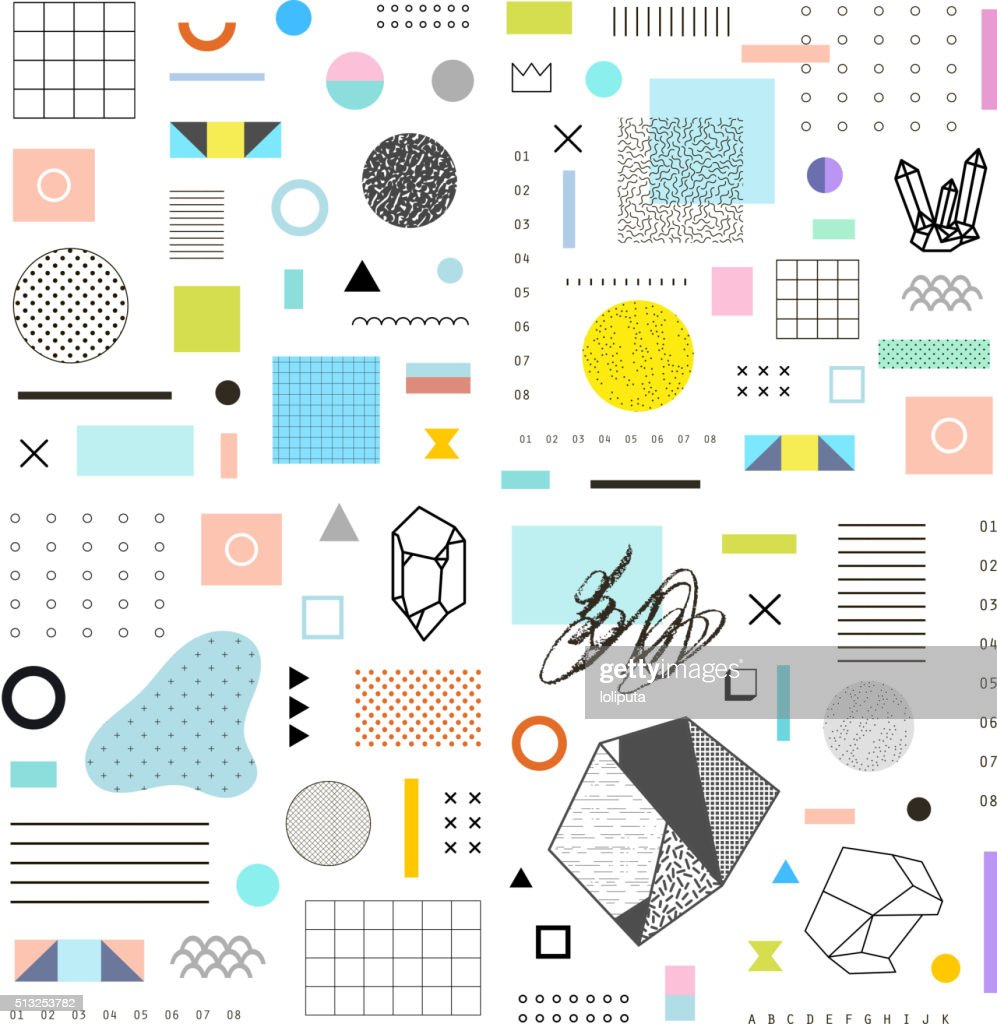 Abstract trendy template with different geometric shapes