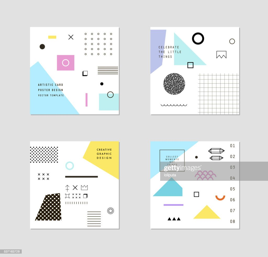 Abstract trendy templates with different geometric shapes
