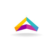 Abstract triangle 3D colorful triangle geometric ribbon symbol