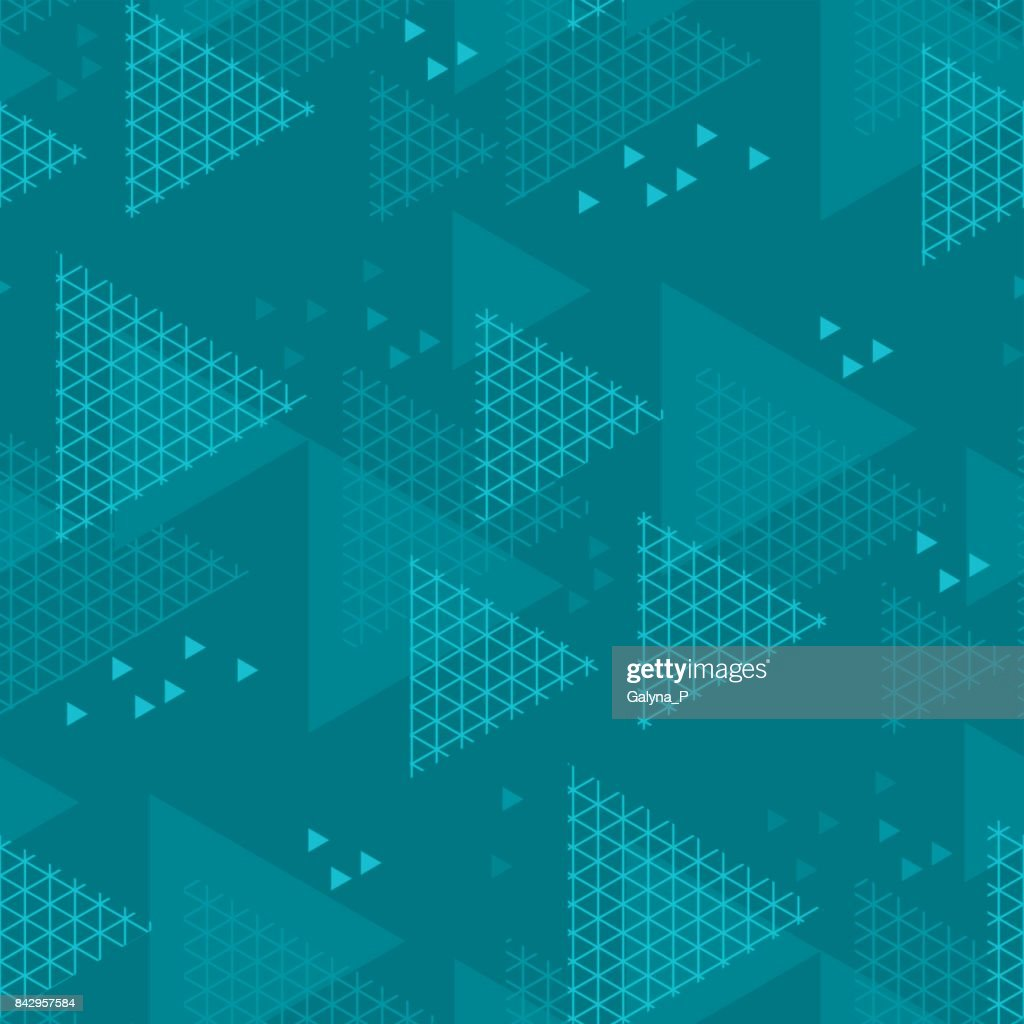 Abstract triangle motif. marine blue color abstract concept design. vector seamless pattern for fabric, wrapping paper, print and web surface design