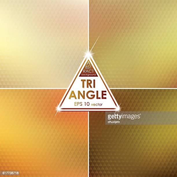 Abstract Triangle shaped backgrounds set Green-Yellow-Brown Palette