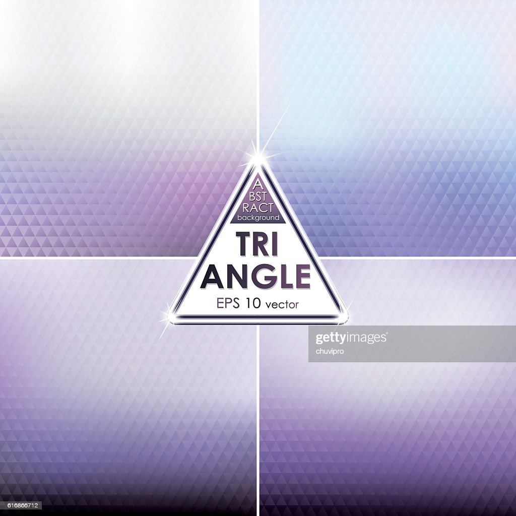 Abstract Triangle shaped backgrounds set  Light Violet Palette : Vector Art