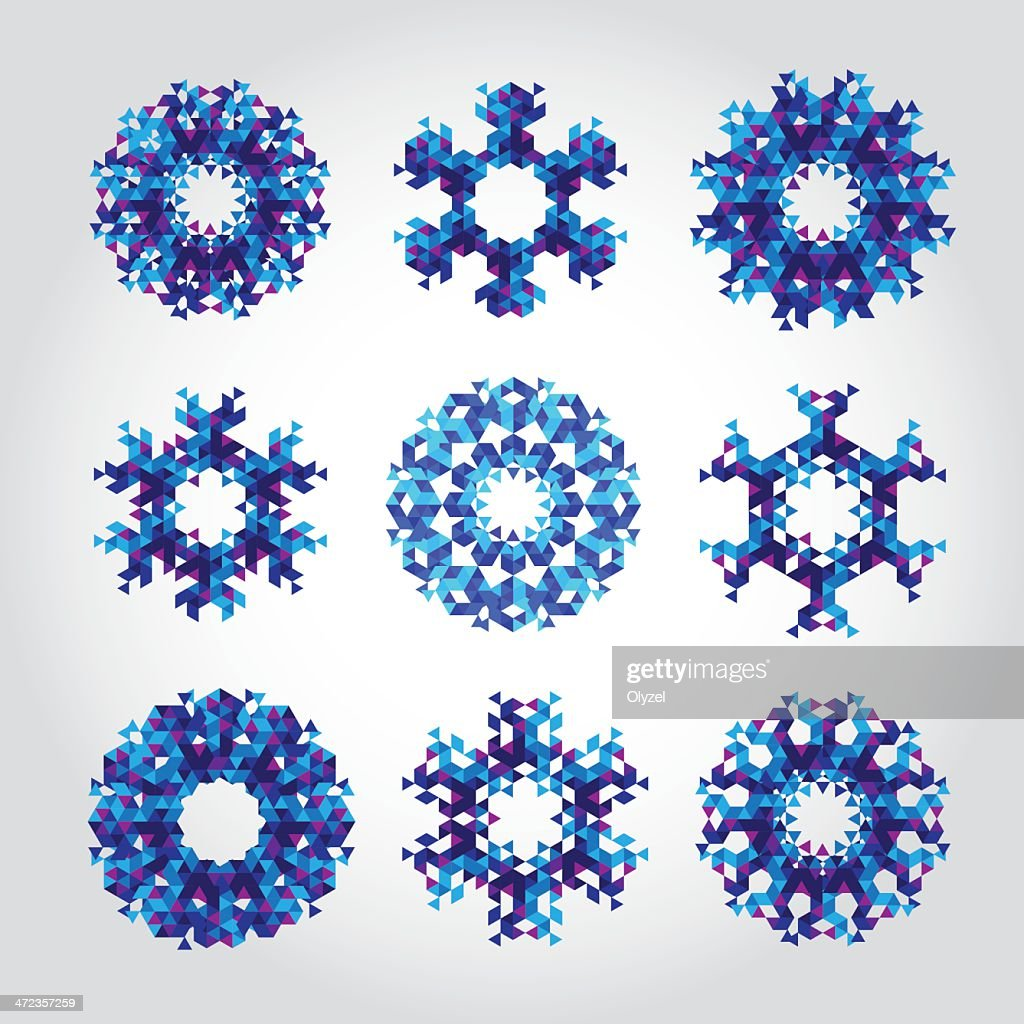 Abstract triangle snowflakes.