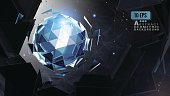 Abstract triangle sphere glowing on shatter BG
