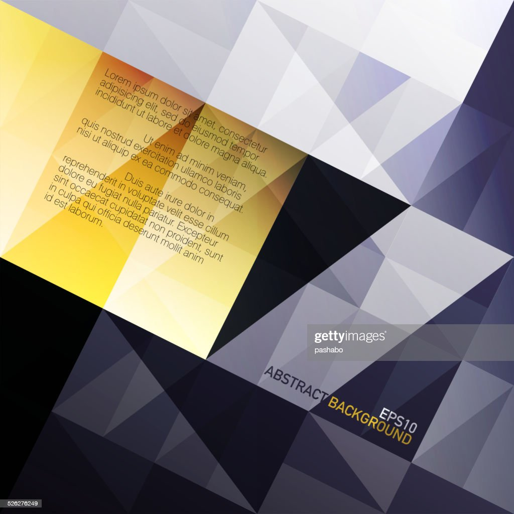 Abstract triangles background. Blue and yellow gamut. Vector, EP
