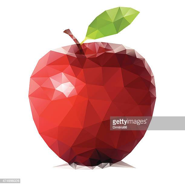 Abstract triangular red apple fruit isolated on white