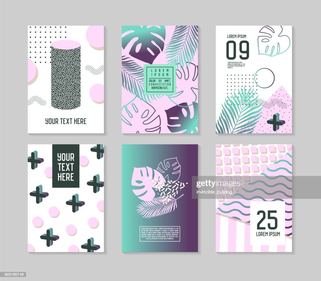 Abstract Tropical Poster Templates Set with Palm Leaves and Geometric Elements. Hipster Style Brochure Banners Flyer. Vector illustration
