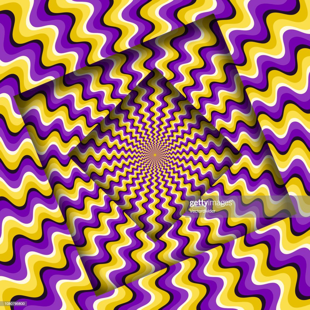 Abstract turned frames with a rotating purple yellow wavy pattern. Optical illusion background. : stock illustration