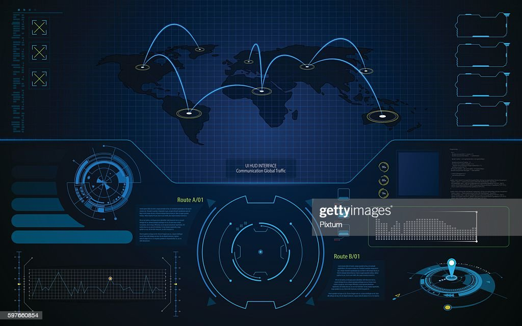 abstract UI HUD interface screen global communication concept template background
