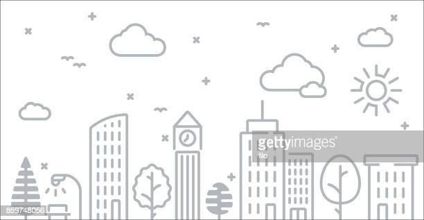 Abstract Urban City Skyline Line Drawing
