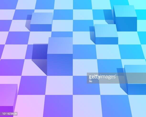 ilustraciones, imágenes clip art, dibujos animados e iconos de stock de fondo abstracto vaporwave cubo - tablero de ajedrez