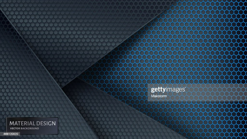 Abstract vector background. Overlapping carbon grid. Material Design style.