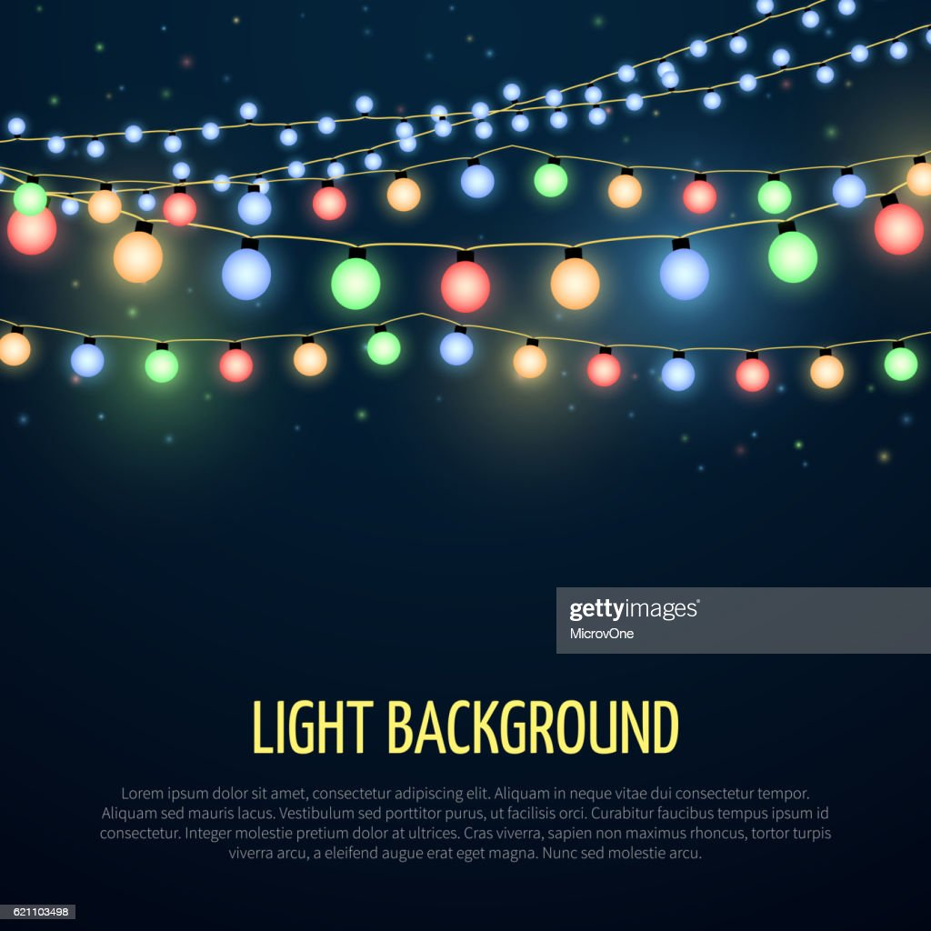 Abstract vector background with christmas garland lamp lights decoration