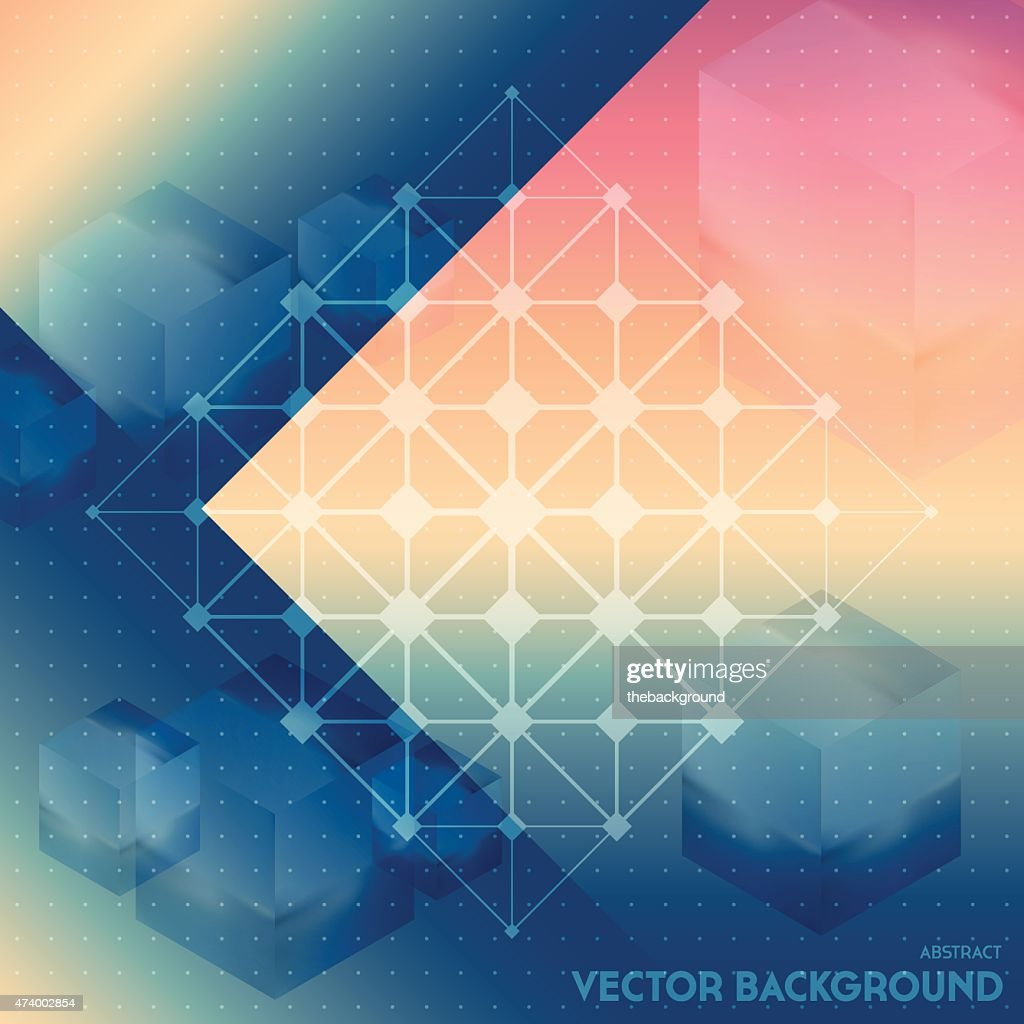 Abstract vector background with isometric cubes with reflection