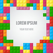 Abstract vector background with plastic blocks parts similar lego block