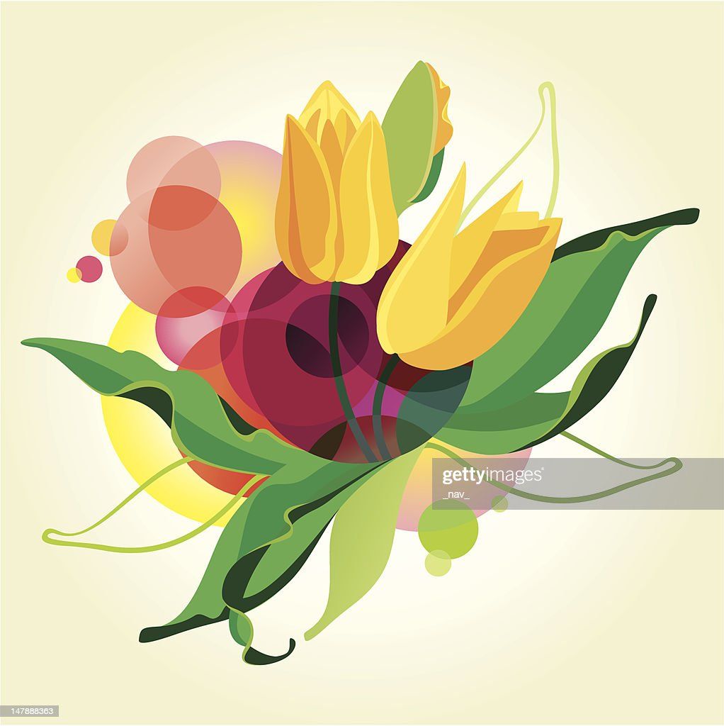 Abstract vector background with tulips.